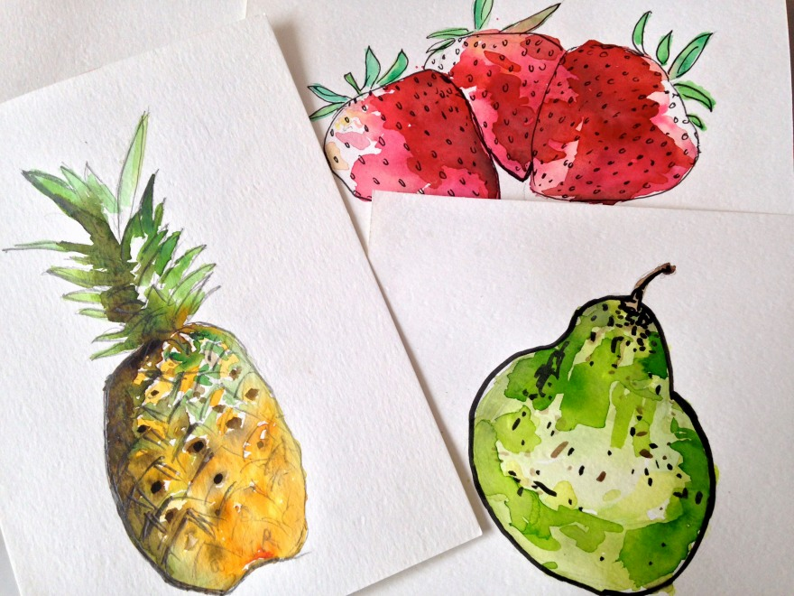 Watercolour fruit. Honing my skills.