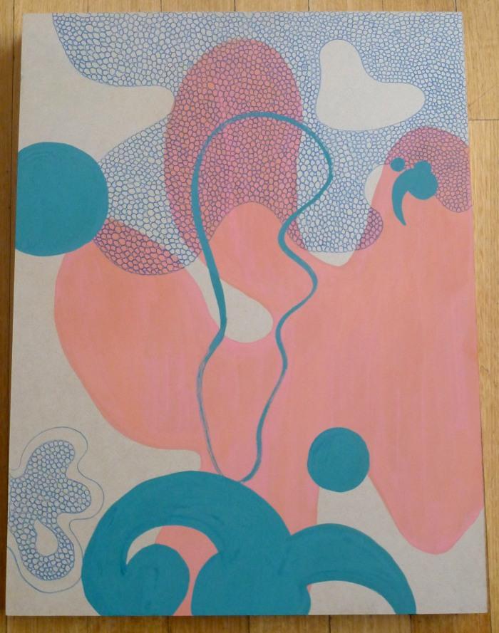 'Float, 2015, Gouache, coloured pencil on mdf board, 50 x 60 cm.