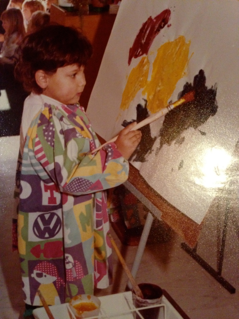 This is me learning how to paint at kindy.