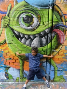Mike Wazowski and Joshua in Caledonain Laneway.