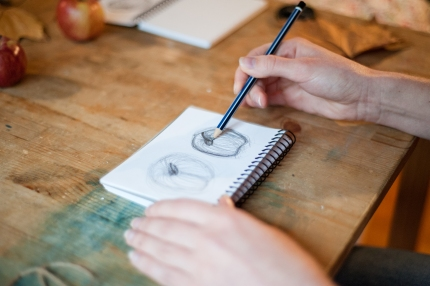 Learning observational drawing skills at my workshop in early 2014.