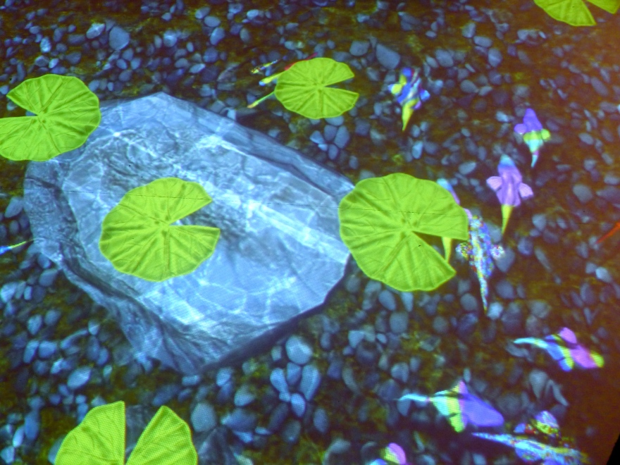Floor video projections of psychedelic fish and lilly pads - if I wasn't going to squash the toddlers I too would have jumped onto these. Maybe next time.