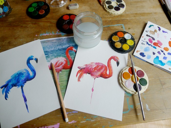 Flamingoes in the studio. So much fun to paint.
