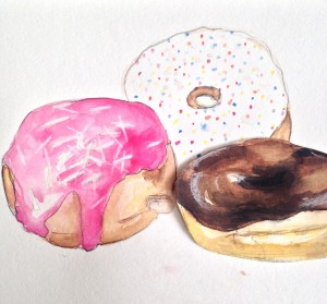 I've been practising painting donuts for my upcoming workshop at Work-shop Melbourne for Father's Day. So much fun.